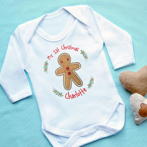 Personalised 1st Christmas Gingerbread Babygrow - baby's first christmas