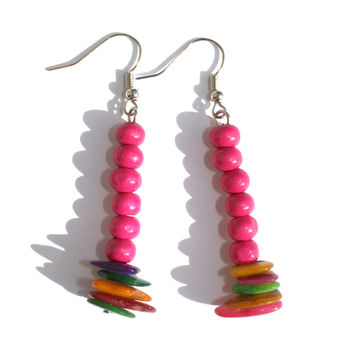Colourful Shell And Wood Earrings