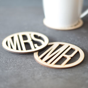 Mr And Mrs Wooden Coasters - wedding gifts & cards sale