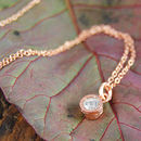 Rose Gold White Topaz November Birthstone Dot Necklace