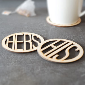 His And Hers Wooden Coasters - 5th anniversary: wood