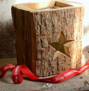 Wooden Star Design Candle Holder - christmas lighting