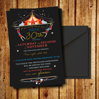 Circus Inspired Wedding Or Party Invitation Set