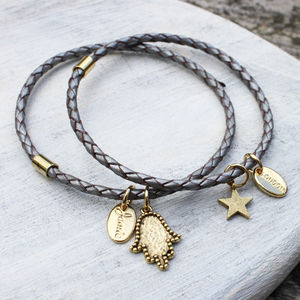 Grey Braided Leather Charm Bangle Bracelet - bracelets & bangles