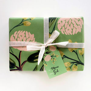 Summer Blooms Peony Floral Gift Wrap Set Of Three - wrapping paper