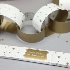 Gold Star Paper Chains - christmas home accessories