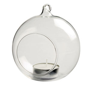Glass Bauble Hanging Tealight Holder / Clear