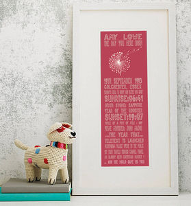 21st Birthday Personalised 'The Day You Were Born' - posters & prints