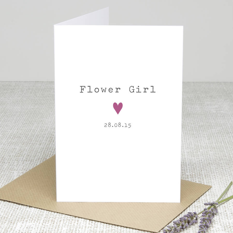 'Flower Girl Heart' Personalised Card