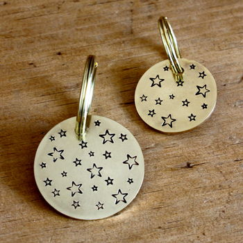 'Starry Night' Brass Dog ID Tag, Hand Made