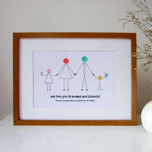Personalised Grandparents Button Print - family & home