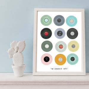 Personalised Vinyl Single Hits Print - music inspired art