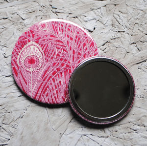 Pink Peacock Mirror - wedding favours