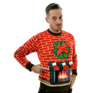 Flashing Fireplace Lighted Christmas Jumper - christmas