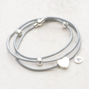 Alessia Heart Charm Leather Bracelet - personalised