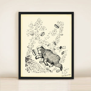 Bear In Space A3 Print