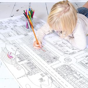 Personalised Colour In Town Map With 3D Vehicles Poster - pictures & prints for children