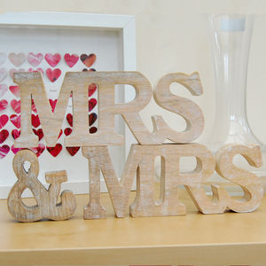 Mrs And Mrs Natural Wooden Sign - mrs & mrs