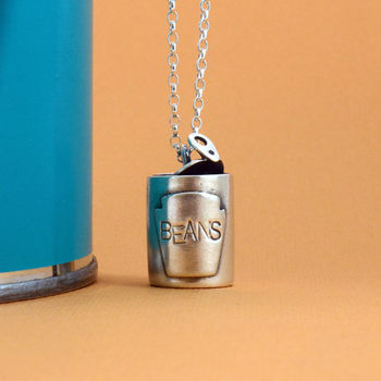 Baked Beans Can Silver Necklace