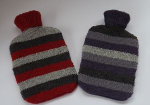 Stripey Hand Knitted Hot Water Bottle Cover - health & beauty