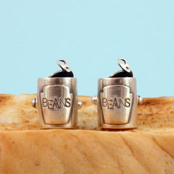 Baked Beans Can Silver Cufflinks