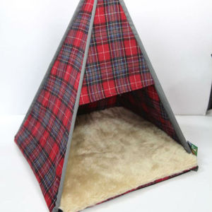 Wigwam Cat Bed Teepee In Red Tartan - cats