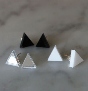 Monochrome Geometric Earring Set