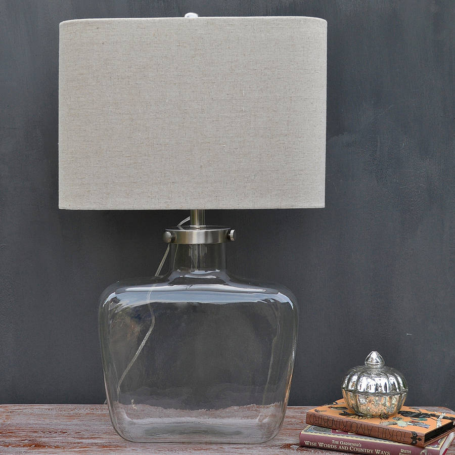 Curved Glass Table Lamp And Linen Shade By Primrose Amp Plum