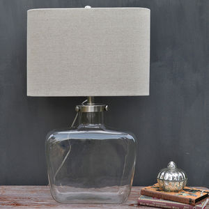 Curved Glass Table Lamp And Linen Shade