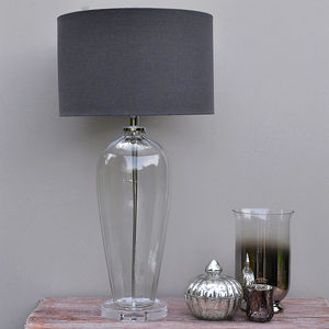 Fluted Glass Table Lamp And Slate Linen Shade