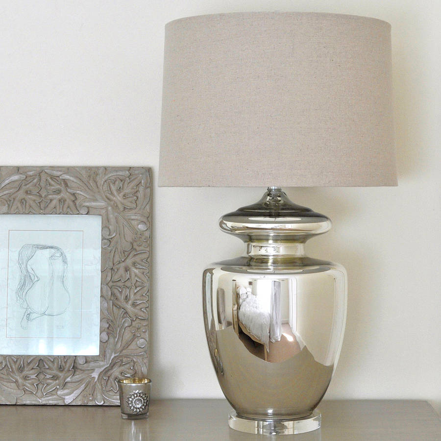 Large Silver Urn Table Lamp And Linen Shade Part 3