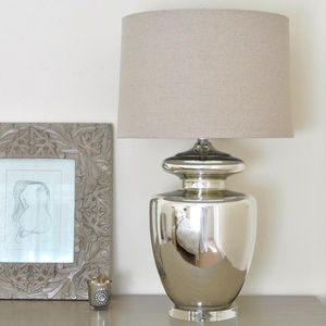 Large Silver Urn Table Lamp And Linen Shade - lighting