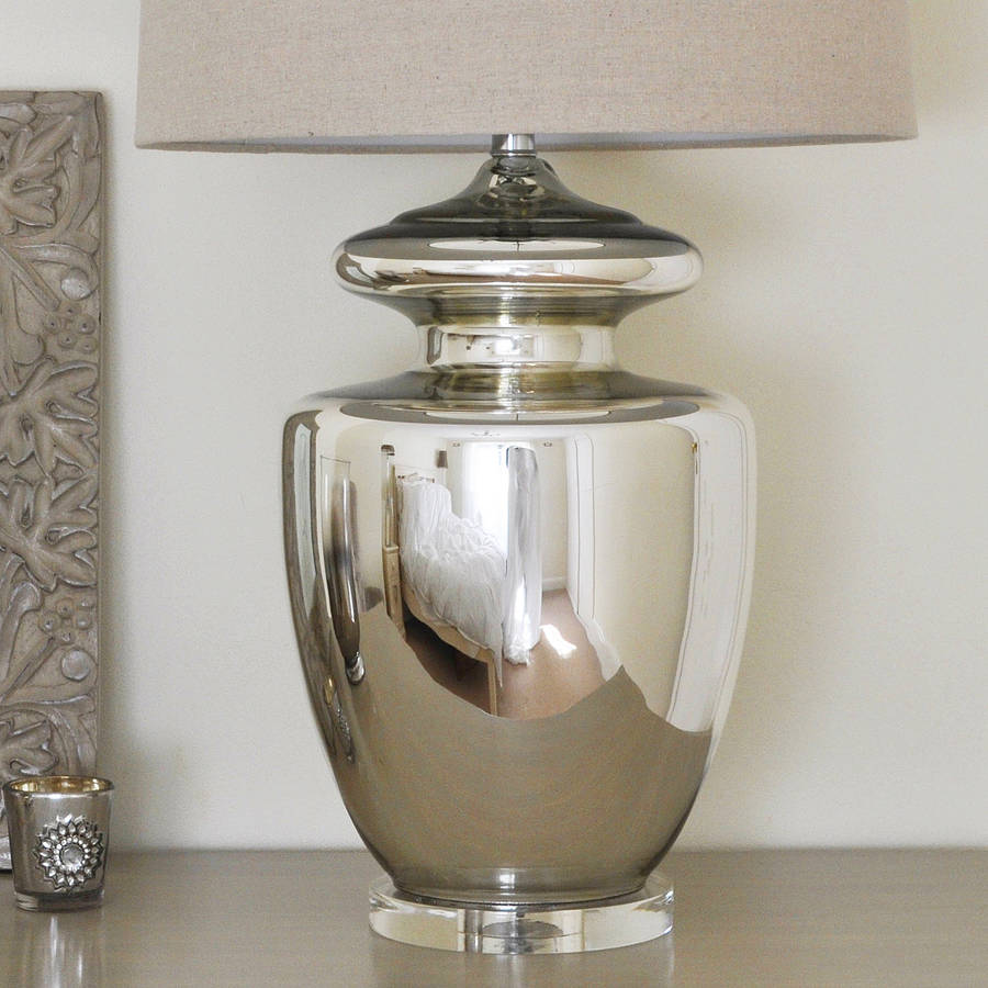 large silver urn table lamp and linen shade by primrose & plum ...