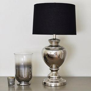 Nickel Urn Lamp And Black Linen Shade