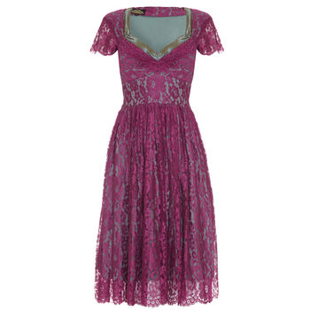 Fabulous 1950s Style Party Dress In Rose Lace