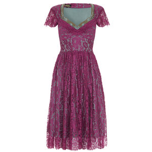 Fabulous 1950s Style Party Dress In Rose Lace - dresses
