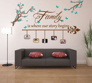 'Family Is Where Our Story Begins' Feature Wall Sticker