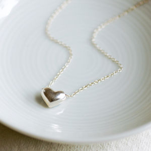 Sterling Silver Heart Charm Necklace - wedding fashion