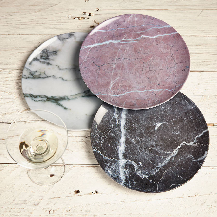 Set Of Three Plastic Marble Plates By Lime Lace