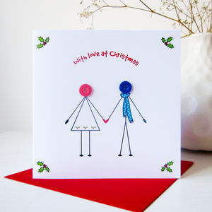 'Husband And Wife' Button Christmas Card - shop by category