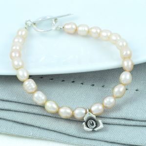 Sweet Petite Silver Antique Rose Charm Pearl Bracelet - women's jewellery