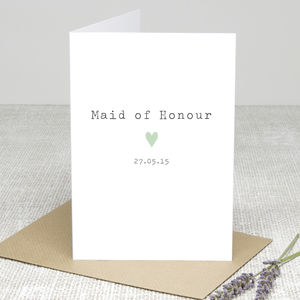 'Maid Of Honour Heart' Personalised Card - wedding stationery