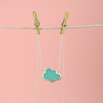'Every Cloud' Silver Enamel Necklace