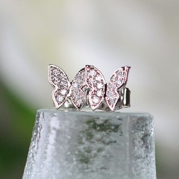 Diamante Butterflies Stud Earrings