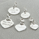 Personalised Sterling Silver Heart And Disc Charms