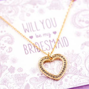 Will You Be My Bridesmaid Crystal Heart Necklace