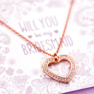 Will You Be My Bridesmaid Crystal Heart Necklace - be my bridesmaid?