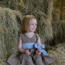 Girls Brown Check Party Dress With Blue Sash Tie