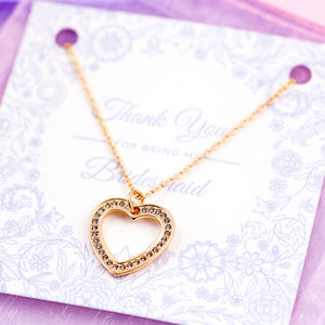 Thank You For Being My Bridesmaid Heart Necklace - wedding fashion