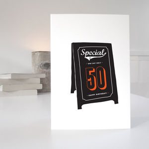 50th Special Age Birthday Card - birthday cards